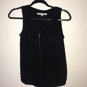 Trina Turk black zip up blouse